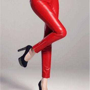 Womens Sheepskin Genuine Leather Pencil Pants
