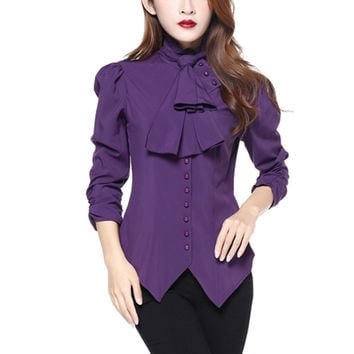 Gothic Victorian Steampunk Purple Ruffle Tie Neck Rutched Sleeve Blouse