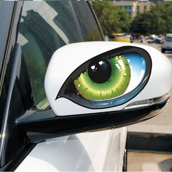 3D Reflective Green Cat Eyes Car Decal - 1 Pair