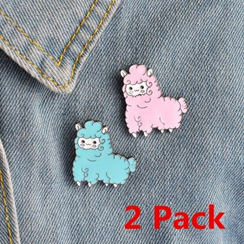 2 Pcs Cute Cartoon Sheep Alpaca Drop Oil Alloy Brooches And Pins for Women Girls Blue Pink Gift for Kids