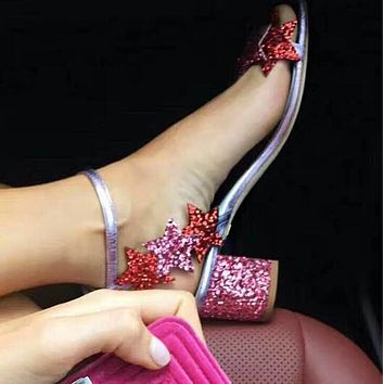 Summer New Popular Women Stars Open Toes Silver Sequins Color Matching Princess Sandals High Heels Pink I12558-1