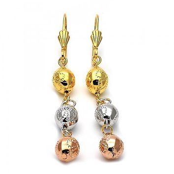 Gold Layered 5.117.014 Long Earring, Ball and Flower Design, Diamond Cutting Finish, Tri Tone