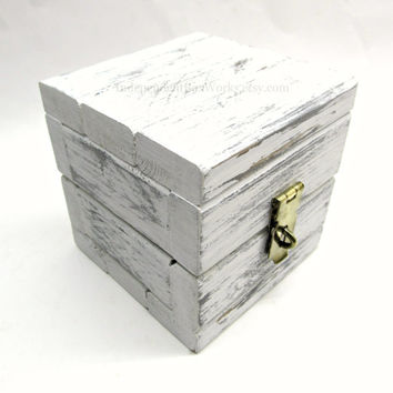 Weathered White Painted Box with Distressed Hardware - Small Shabby Wooden Box with Lid - Cottage Chic Tiny Cube Box - Little Wood Box