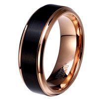 8mm/6mm/4mm Black & Rose Gold Color Tungsten Carbide Wedding Band for Boy and Girl Friendship Ring Russian Men Simple Jewelry
