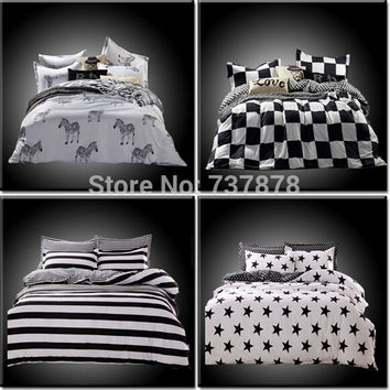 Home Textiles,cotton Polyester Black&white Plaid 4pcs bedding sets, bed linen, bed sheet + duvet cover +Pillowcase, Freeshipping