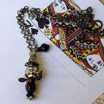 Queen of Spades Necklace, Playing Card Necklace, Royalty Necklace, Charm Necklace, Pendant Necklace, Victorian Necklace