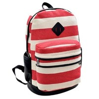 Stripe Print Canvas Backpack Bag