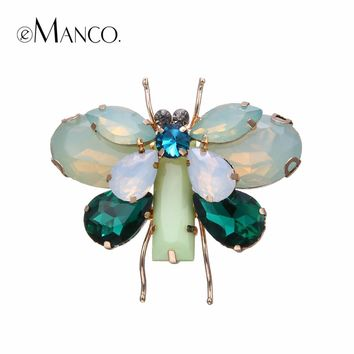 e-Manco two Colors Cute Animal & Insect Butterfly Brooches Pins for Women Crystal Brooch Clothing Accessories Fashion Jewelry