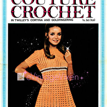 1960s Couture Short Sleeve Dress Vintage Crochet Pattern Simple and Sweet Summer Crochet Sexy Dress Lady Dress-e Vintage Vixen- Vintage Beso