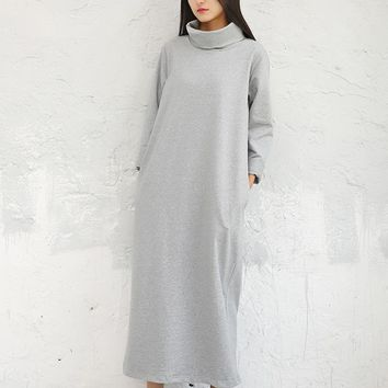 2018 Large Size Knit Dress Spring Solid Color Mid-Calf Original Design Female A-Line Bottom Long Sleeve Mori Girl Dresses Autumn