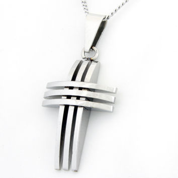 Crucifix Triple Cross Stainless Steel Necklace