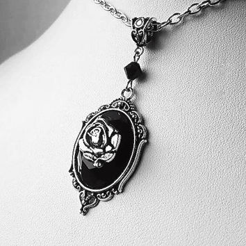 Gothic Rose Jewel Cameo Necklace
