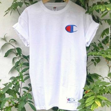 Champion Classic Stylish Women Men Print Cotton T-Shirt Top Blouse White I