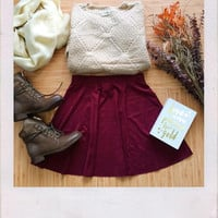 Transform Suede Skater Skirt- Burgundy