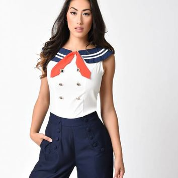 Banned Retro Style Ivory Bandit Sailor Sleeveless Blouse