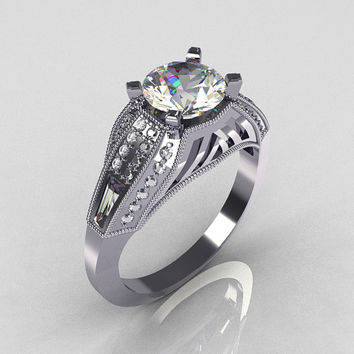Aztec-Edwardian 18K White Gold 1.0 CT Round and Baguette Moissanite Diamond Engagement Ring MR001-18WGDMO