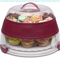 Prepworks from Progressive International BCC-1AZ Collapsible Cupcake and Cake Carrier in Amazon Frustration Free Packaging, Red