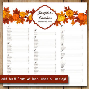 Pumpkin Wedding Seating Chart Template | Autumn Leaves Microsoft Word Template | Orange Red Maple You Print 22x22 Fall Wedding Download