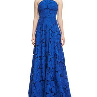 Badgley Mischka Floral-Lace Sleeveless Halter Gown, Royal Blue