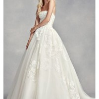 White by Vera Wang Strapless Tulle Wedding Dress - Davids Bridal
