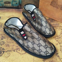 GUCCI Trending Women Men Casual Letter Jacquard Lazy Shoes Canvas Single Shoes Khaki