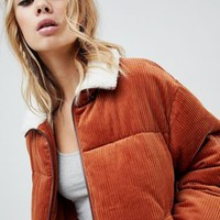 ASOS DESIGN cord padded jacket at asos.com