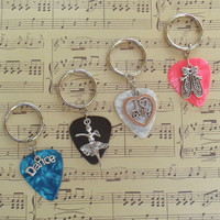 Dance Ballet Key Chain, Choice Guitar Pick Keychain, Available in 16 Colors, Dancer Theater