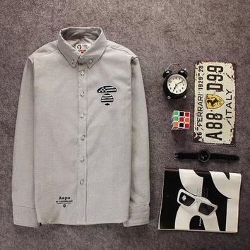 Tide card simple embroidery ape head cotton long-sleeved shirt tide male Gray