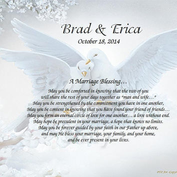 Personalized Wedding Poem Inspirational Print on Choice Background - Marriage Blessing Poem Wedding Gift idea