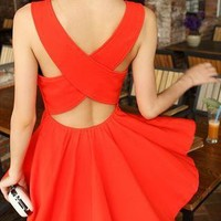 Cross-over Back Mini Dress (Pink , Red) from OASAP-USA