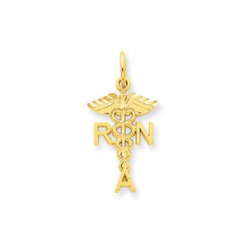 14k Yellow Gold Diamond Cut RNA Caduceus Charm