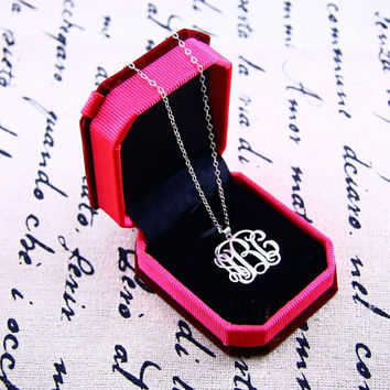 "Monogram necklace - 1.0"" inch Personalized Monogram - interlocking Monogram-925 Silver Handmade"