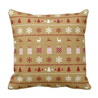 Christmas Sweater Pattern, white, red on gold Throw Pillow