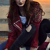 Red Spiked Leather Motorcycle Jacket