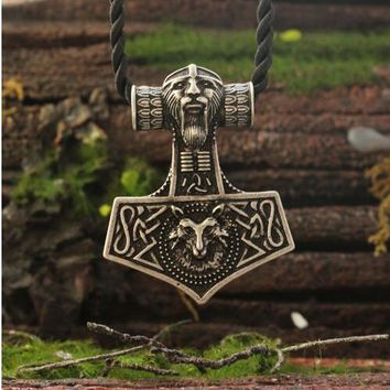 lanseis20pc Viking fox necklace Thor's Hammer Mjolnir Pendant  Lge Odins Norse Fox men amulet jewelry