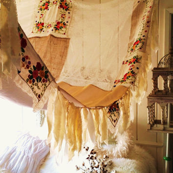Boho Bed Canopy Shabby Chic Rustic Wedding Bohemian Hippy Scarf Burlap Gypsy Hippie Patchwork Embroidery Decor