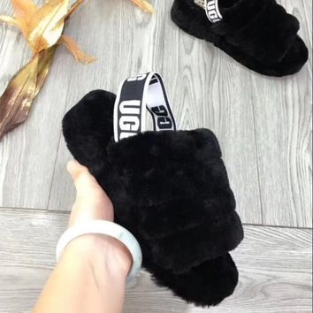 """""""UGG"""" Hight Quality Winter Fashionable Women Warm Fluff Yeah Slippers Shoes Black I/A"""