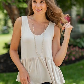 Go Getter Peplum Top : Taupe