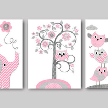 Pink Gray Baby Shower Gift Elephant Giraffe Nursery Decor Baby Girl Nursery  Art Print Kids Art