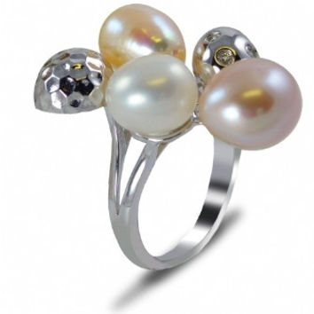 Imperial Pearl: Sterling Silver White, Natural Peach & Plum Freshwater Pearl & White Topaz Ring