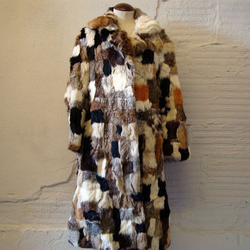 Rabbit Fur Coat Vintage 1970s Long Jacket by purevintageclothing