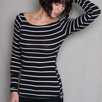 Heart & Hips Striped Boatneck Stretch Tee With Long Sleeves - Black