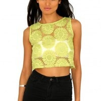 Missguided - Solange Mesh Panel Floral Crop Top In Green