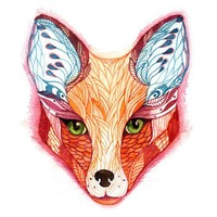 "Red fox face water color animal art by Ola Liola BUY 2 prints  and get 1 FREE, sale, size 8""x10"", No 28"