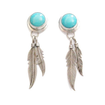 Turquoise Feather Earrings Sterling Dangle Post Pierced Vintage Navajo
