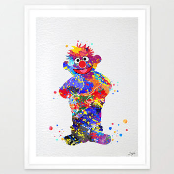 Ernie from sesame street Watercolor Art Print,Nursery Art Print,Home Decor,Wall Hanging,Kids Room Art,Motivational/Inspirational Gift,No 95
