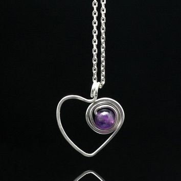 Sterling silver Amethyst heart pendant necklace Bridesmaids gifts Free US Shipping handmade Anni Designs
