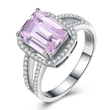 925 Sterling Silver Unique Casual Rings Pink Sapphire Emerald Cut Cocktail Ring
