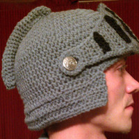 Crochet Knight Helmet hat with moveable visor Child, Adult, Large Adult