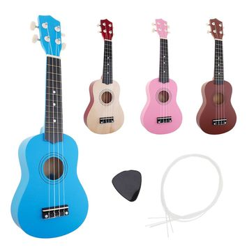 21 inch Ukulele Beginner Hawaii 4 String Guitar Ukelele for Children Kids Girls Christmas Gifts + Nylon Strings + Pick